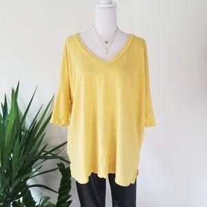 Eileen Fisher Organic Linen Mustard Yellow Top